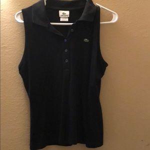 Lacoste sleeveless polo button top